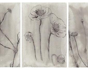 Set of 3 original ink drawings / greeting cards