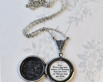 Your're Braver than you Believe and Stronger than you Seem Smarter than you Think quote locket graduation gift inspirational quote jewelry