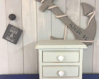 Little dresser, drawers, jewellery box, keepsake box, desk top drawers, coastal decor - pale green (Annie Sloan Chalk Paint)