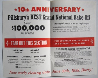 Official Entry Blank 1958 Pillsbury's Best Grand National Bake-off - 10th anniversary