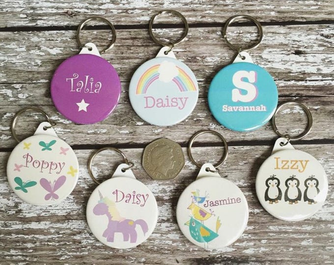 Featured listing image: Personalised childrens keyring - name keyring keyring - handmade personalised keyring - stocking filler - party bag filler