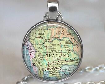 Thailand map pendant, Thailand map jewelry, Thailand pendant, map necklace, map jewelry travel jewelry key ring  key chain key fob