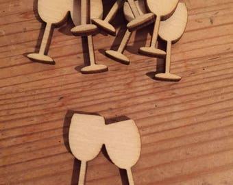 50 x Wooden mini Wine Glasses EMBELLISHMENT cratf card ART Sd482
