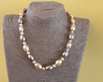 Beautiful pearl colored beaded necklace