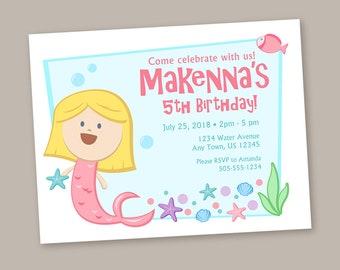 Mermaid Invitation, Mermaid Birthday Party, Ocean, Sea, Mermaid Party, Mermaid Theme, Under The Sea. Birthday Invitations, Envelopes, Custom