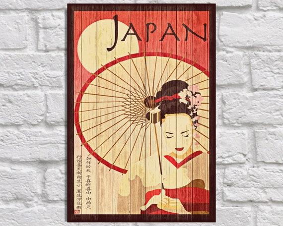 Japan Travel poster Vintage Wood wall art Japanese art print