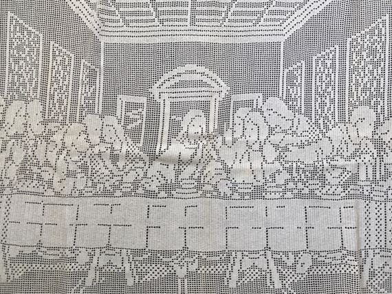 Large Vintage Crochet Last Supper Wall Art Or Table Runner