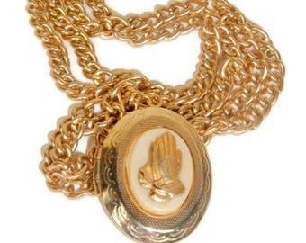Religious Jewelry, Praying hands, Locket Necklace, Photo Locket, Locket Jewelry, vintage locket, Inspirational gifts, cameo locket