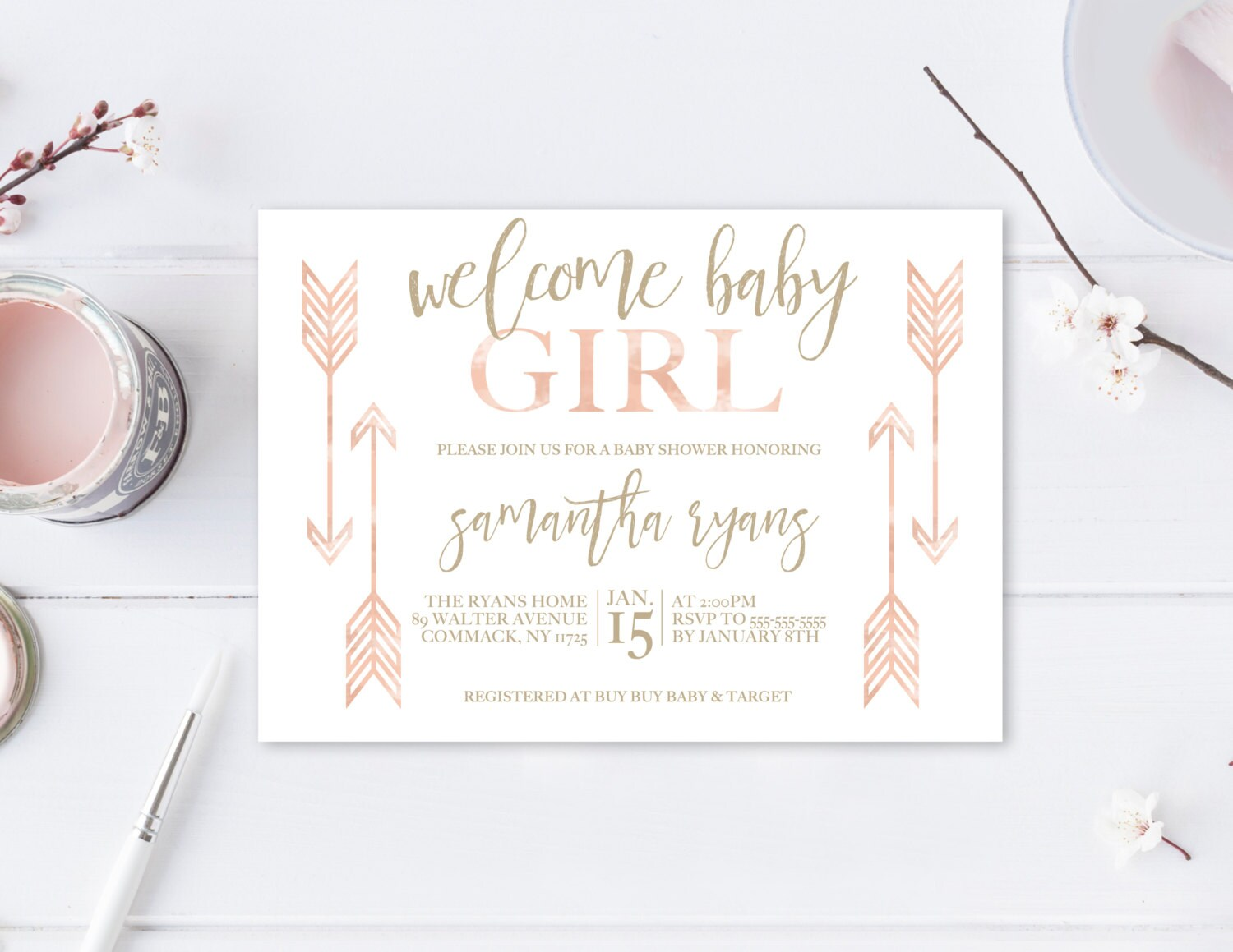 Baby Shower Invitation Boho Baby Shower Invitations Girl