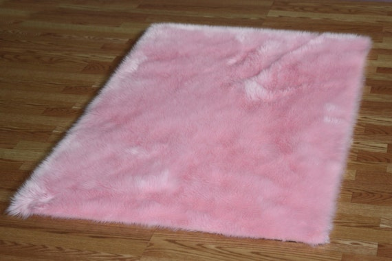 5 X 8 Baby Pink Faux Fur Rug Non Slip Washable Great