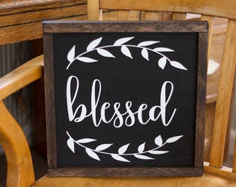 Blessed Fixer Upper Rustic Farm House Fall Thanksgiving Sign