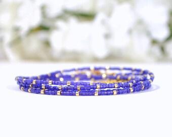 Wrap Bracelet Purple 5 Wrap Bracelet Multi-Layered Bracelet Purple Gold Stacking Beaded Bracelet 35-38 inch Bracelet Necklace
