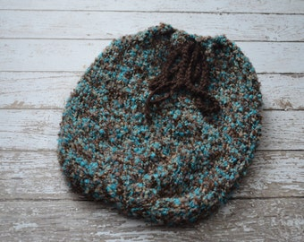 Knitted Newborn Swaddle Sack Soft Yarn Photo Prop Fluffy Blue Brown