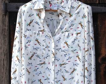 Foxy Pheasant Hunting Hound Print Seventies Shirt