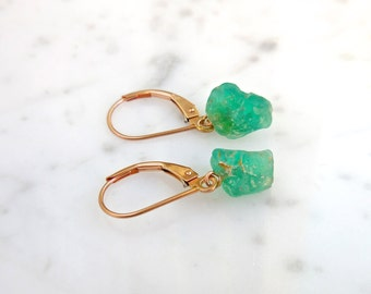 Emerald Earrings - Natural Raw Rough Emeralds, May Birthstone, Handmade, Rose Yellow or White 14k Gold, Unique Earrings, Emerald Dangles
