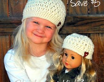 "18"" Doll & Child Hat, AG Crochet Hat, Winter Hat, American Girl Doll, AG Matching Hat, Crochet Doll Hat, Hidden Hearts Hat, Winter Beanie"