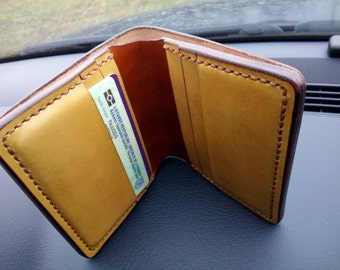 Leather Wallet - Mens Leather Wallet - A Handmade Vegetable Leather Wallet with 6 Cards slots