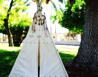 AZTEC canvas teepee tent /hand print kids play tent/ kids fort/ children play tipi