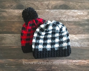 Crochet Red and Black Flannel Beanie
