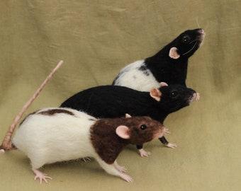 Custom needle felted rats for Mamen - balance due