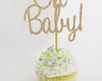 Oh Baby Cupcake Topper, Baby Shower Cupcake Topper, Cursive Cupcake Topper, Baby Cupcake Topper, Baby Shower Decoration, Baby Shower