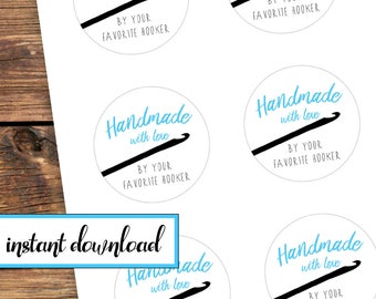crochet stickers, printable stickers, Handmade with love by your favorite hooker, crochet gift stickers, avery round labels, blue, crochet