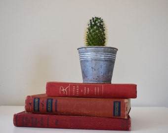 Set of 3 Red Vintage Books / Cloth Bound / Aged / Antique / Collectibles / Home Decor / Wedding Decor / Library / Nightstand / Coffee Table