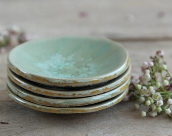 Bowl tiny, small bowl, ring dish, tea tip, stoneware, pottery, handmade bowl, trinket dish, jewelry dish, green, price is for one bowl
