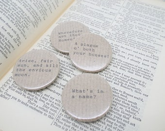 Romeo and Juliet - Shakespeare Quote - Button Pin Badges x 4 Quotes (Brown Paper)