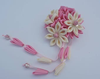 Pink Kanzashi Fabric Flower hair clip wit falls.  Japanese hair clip.