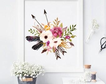 Floral Printable, Tribal Printable, Feather Wall Print, Bird Wall Art, Feather Print, Home Wall Decor, Boho Print