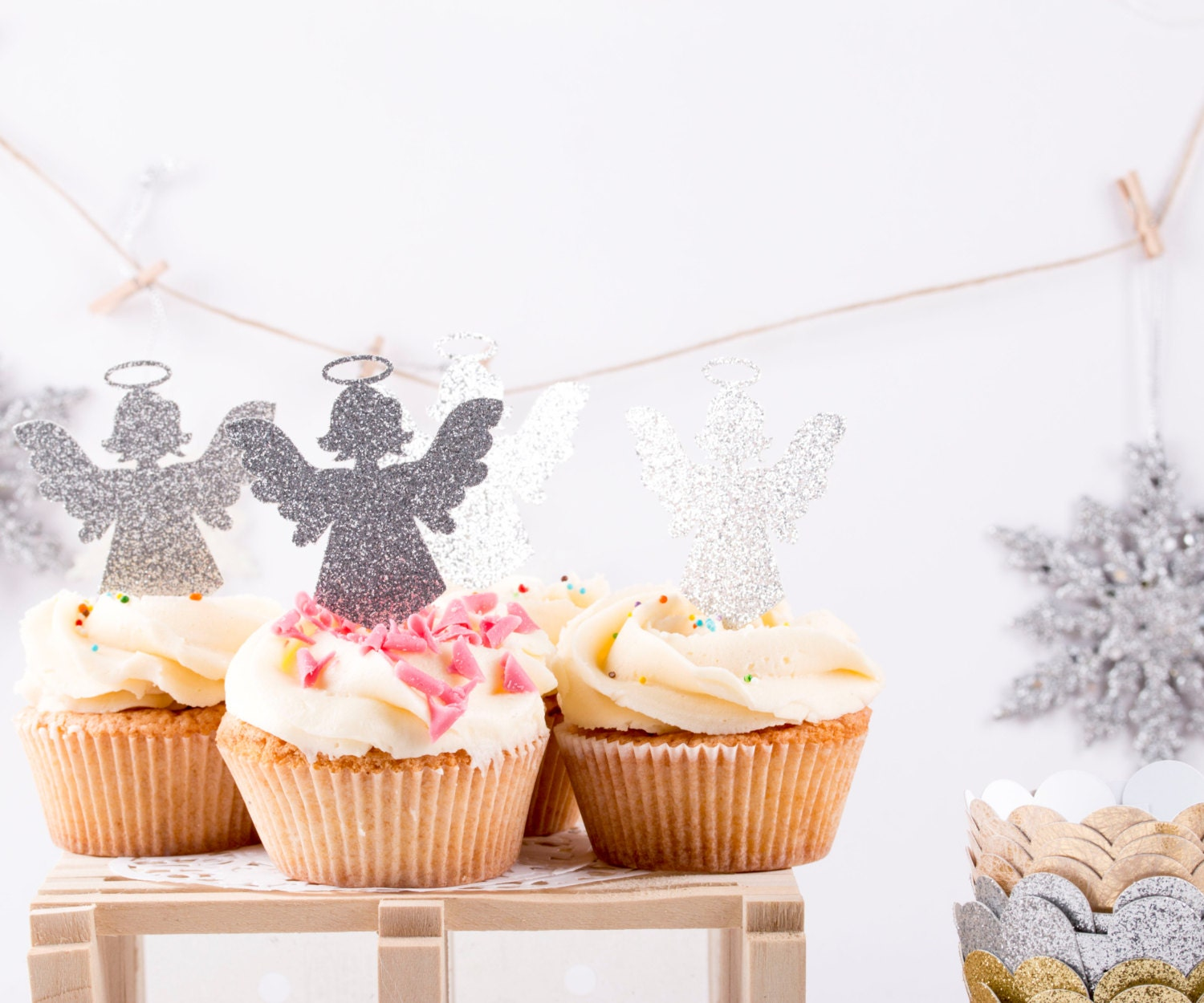 christmas angel cupcake toppers party decoration angle. Black Bedroom Furniture Sets. Home Design Ideas