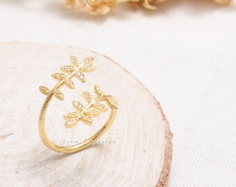 CZ Accent Leaves Branch Open Band Ring-Adjustable Size