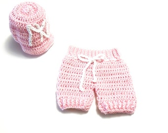 Baby Girl Outfits, Baby girl, Short Pants Set, Yankees Hat, Baby Shower Gift, Pink, White,