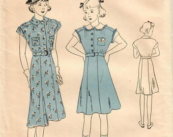 1930s Advance 1815 FF Vintage Sewing Pattern Girls Shirtwaist Dress, Flared Skirt Dress  Size 12