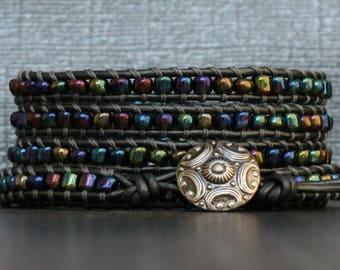 wrap bracelet - metallic peacock seed beads on pewter leather - simple modern bohemian jewelry - boho chic