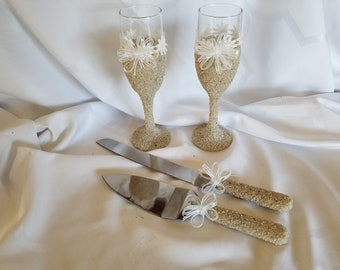 Sand Covered Glasses and Cake Serving Set