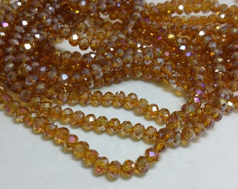 1 Bead Strand - 4x6mm Yellow Brown Rondelle Glass Crystal Beads BD0116