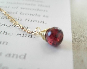 Tiny Garnet Briolette Necklace in Gold
