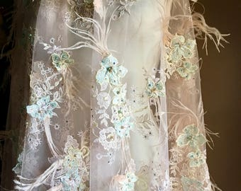 Rose Blush & Aqua Mint 3d Lace, Appliqued, Beaded and Embroidered with Ostrich Feathers for Couture Gowns, Lyrical or Ballet Costume Design