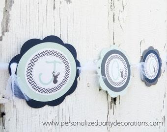 Boy Baby Shower Decorations, Deer Baby Shower Name Banner, Baby Shower Decorations, You Choose Colors
