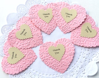 Handmade Gift Tags, Wedding tags, Elegant Gift Tags, Pink Party Favor Tags, Heart Gift Tags, Personalized Elegant Tags, Embossed Gift tags.