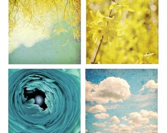 Boho Bright Nature Decor Flower Photography Blue and Yellow Wall Art Sky and Clouds Blue Ranunculus A Fine Day Set of Four 8x8 inch Prints