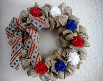 Patriotic 4th of July Burlap Wreath Accented with Red, White & Blue Flowers.