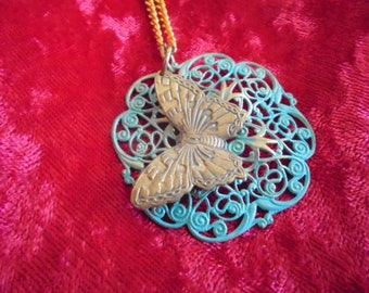 Butterfly and filigree pendant necklace