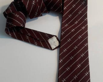 "Christian Dior vintage necktie burgundy and white nautical pattern silk 54 1/2"" long"