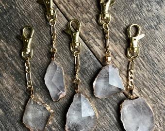 Crystal Keychain,Quartz Keychain Gold,Gemstone Keychain Gold,Gold Crystal,Raw Stone Keychain,Quartz Crystal,Raw Crystal Keychain, Keyring