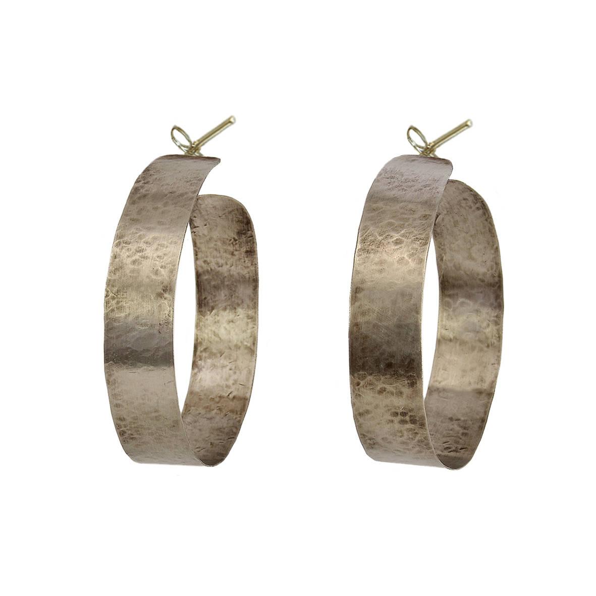 Chunky hoop earrings, statement hoops, large thick hoops, silver ...