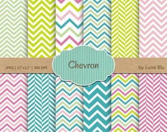 "Chevron Digital Paper: ""Spring Chevron Patterns"" chevron backgrounds for scrapbooking, invites, cardmaking, crafts"