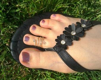 Silver toe ring/ four band toe ring / silver midi ring / quadruple toe ring/ multi band toe ring / knuckle ring / loop toe ring silver/